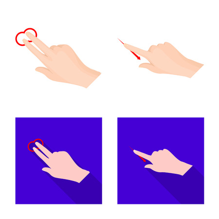 Vector design of touchscreen and hand symbol. Set of touchscreen and touch stock symbol for web. Illusztráció