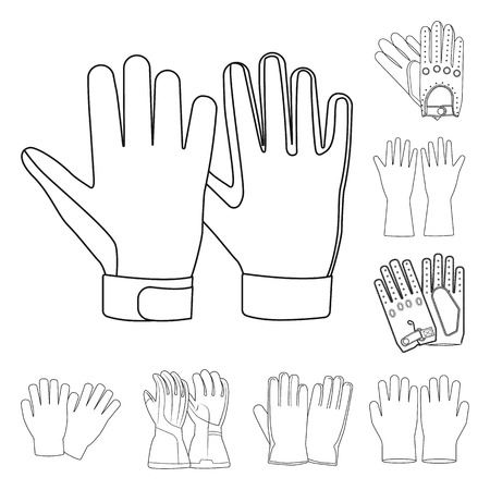 Isolated object of glove and winter sign. Collection of glove and equipment vector icon for stock. Vectores