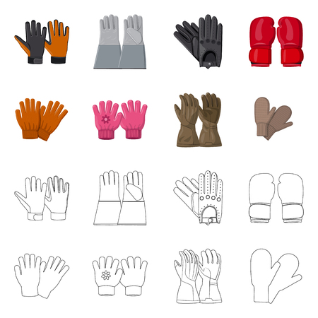 Vector design of glove and winter sign. Collection of glove and equipment stock symbol for web.