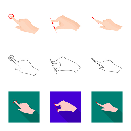 Vector illustration of touchscreen and hand sign. Collection of touchscreen and touch vector icon for stock.