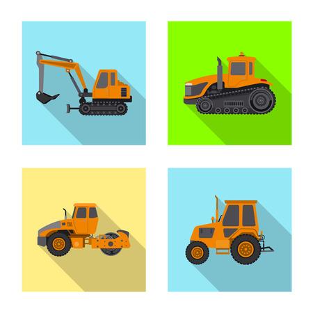 Illustration vectorielle du logo de construction et de construction. Ensemble d'icônes vectorielles de construction et de machines pour le stock.