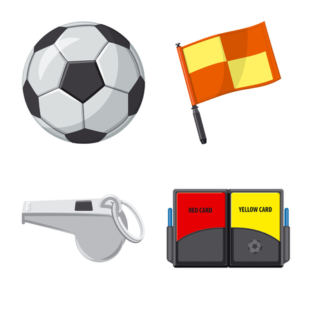Vector illustration of soccer and gear icon. Set of soccer and tournament stock vector illustration.