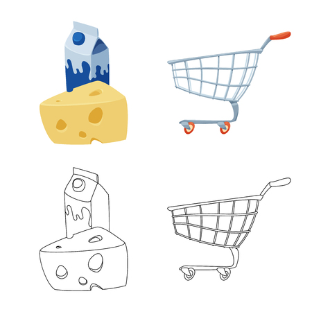 Isolated object of food and drink icon. Collection of food and store stock vector illustration. Illustration