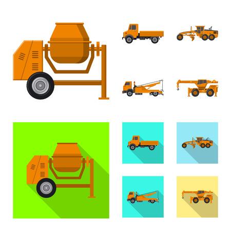Isoliertes Objekt der Bau- und Konstruktionsikone. Sammlung von Bau- und Maschinenvektorikone für Lager. Vektorgrafik