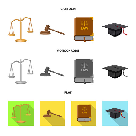Vector illustration of law and lawyer symbol. Collection of law and justice stock vector illustration. Stock Illustratie