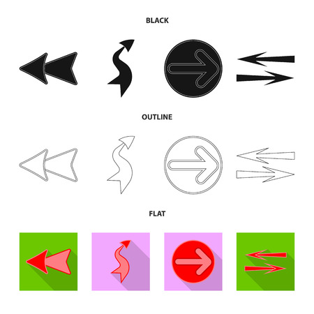Vector design of element and arrow sign. Collection of element and direction stock symbol for web. Stock Illustratie