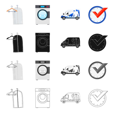 Vector design of laundry and clean sign. Set of laundry and clothes stock vector illustration. Illustration
