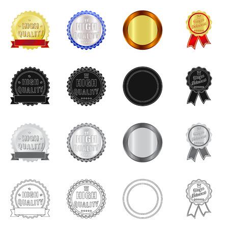 Vector design of emblem and badge symbol. Set of emblem and sticker stock symbol for web.