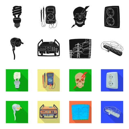 Isolated object of electricity and electric icon. Collection of electricity and energy stock symbol for web. Illustration
