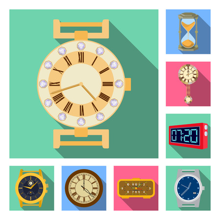 Isolated object of clock and time logo. Collection of clock and circle stock symbol for web. Illustration