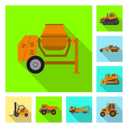 Vektorillustration des Bau- und Konstruktionszeichens. Sammlung von Bau- und Maschinenvektorikone für Lager.