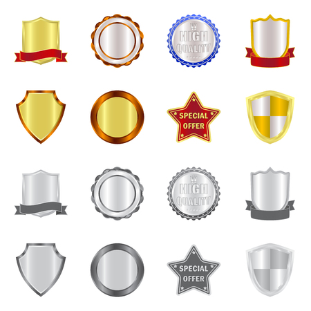 Vector illustration of emblem and badge icon. Collection of emblem and sticker stock symbol for web.