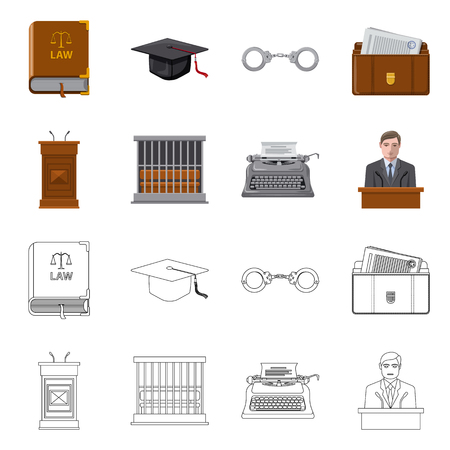 Isolated object of law and lawyer icon. Set of law and justice stock vector illustration.