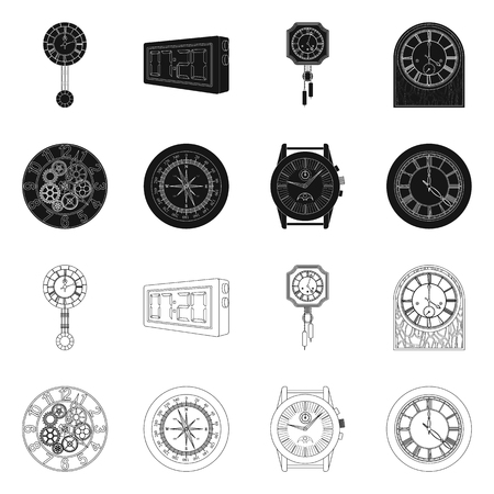 Isolated object of clock and time logo. Collection of clock and circle vector icon for stock. Ilustrace