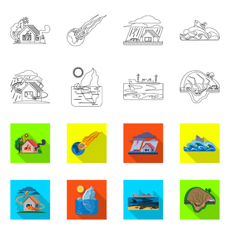 Isolated object of natural and disaster icon. Set of natural and risk stock vector illustration.