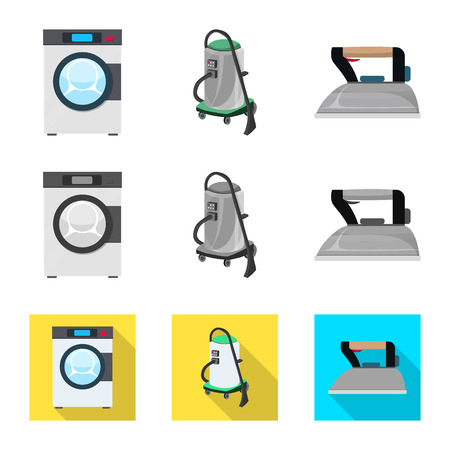 Vector illustration of laundry and clean logo. Collection of laundry and clothes vector icon for stock.