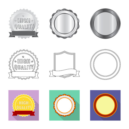 Vector illustration of emblem and badge logo. Set of emblem and sticker vector icon for stock. Stockfoto - 109659062