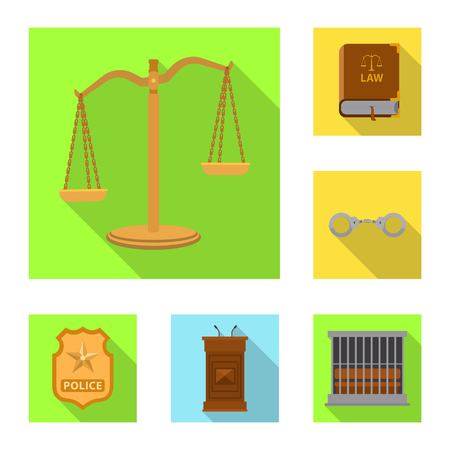 Isolated object of law and lawyer sign. Collection of law and justice stock vector illustration.