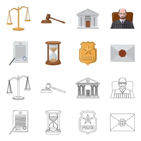 Vector design of law and lawyer logo. Set of law and justice stock vector illustration.