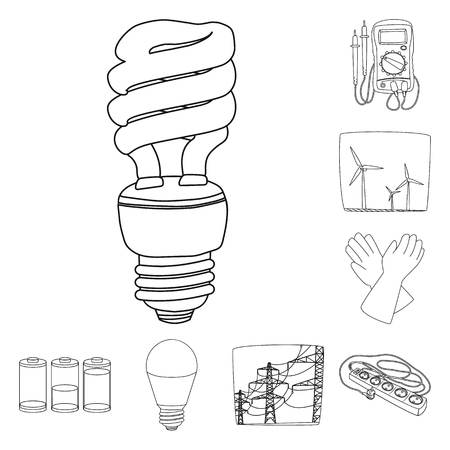 Vector design of electricity and electric icon. Set of electricity and energy vector icon for stock. Stock Vector - 109659323