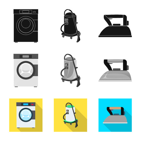 Isolated object of laundry and clean sign. Collection of laundry and clothes stock vector illustration.