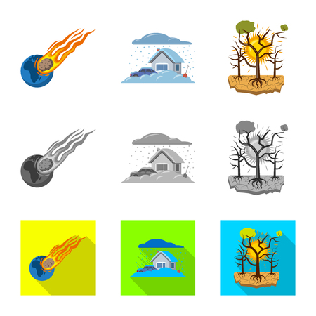 Vector design of natural and disaster icon. Set of natural and risk vector icon for stock.