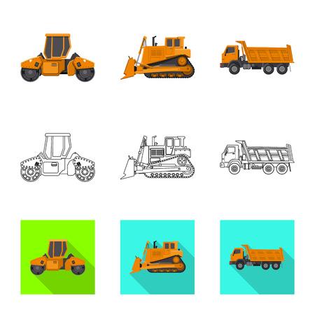 Conception de vecteur du logo de construction et de construction. Collection d'icône de vecteur de construction et de machines pour le stock.