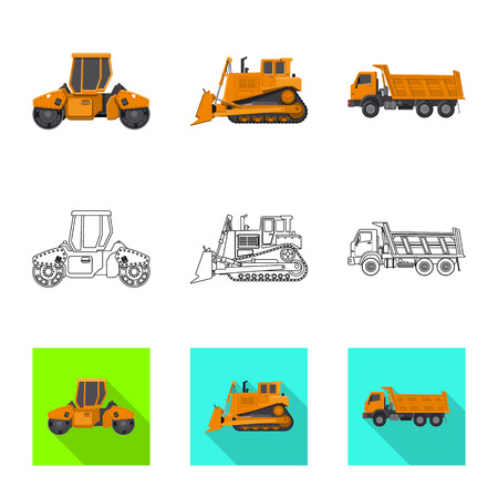 Vector design of build and construction logo. Collection of build and machinery vector icon for stock.