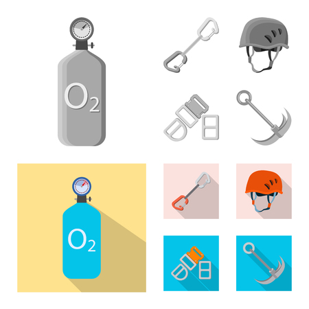 Vector illustration of mountaineering and peak symbol. Collection of mountaineering and camp vector icon for stock.