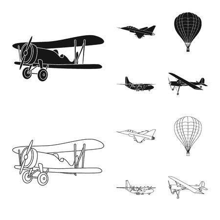 Vector design of plane and transport sign. Collection of plane and sky stock vector illustration. Illustration
