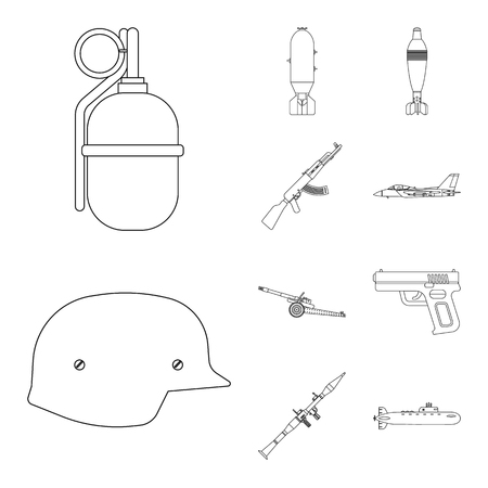 Vector illustration of weapon and gun symbol. Set of weapon and army stock symbol for web.