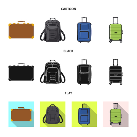 Vector design of suitcase and baggage logo. Set of suitcase and journey stock vector illustration.