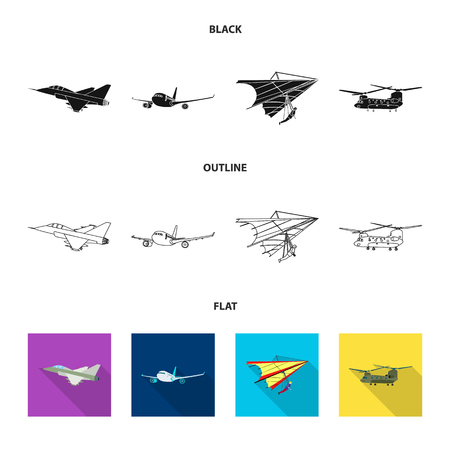 Vector design of plane and transport symbol. Collection of plane and sky vector icon for stock.