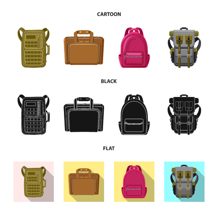 Vector illustration of suitcase and baggage icon. Set of suitcase and journey stock vector illustration.