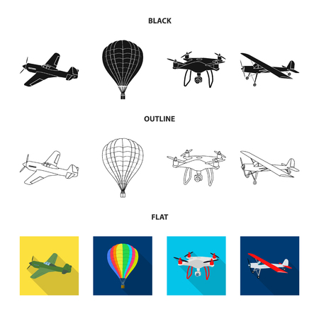 Isolated object of plane and transport symbol. Collection of plane and sky stock vector illustration.
