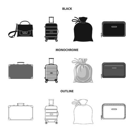 Oggetto isolato del logo di valigia e bagagli. Set di valigia e viaggio stock illustrazione vettoriale. Logo
