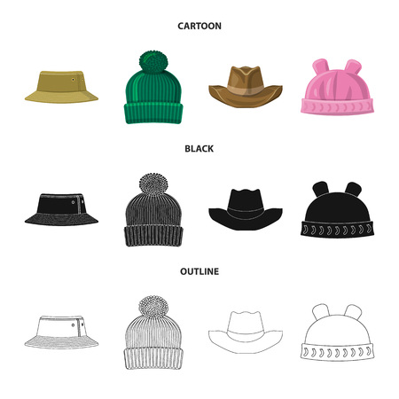 Isolated object of headgear and cap icon. Collection of headgear and accessory stock symbol for web. 矢量图像