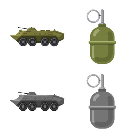 Isolated object of weapon and gun icon. Collection of weapon and army vector icon for stock.