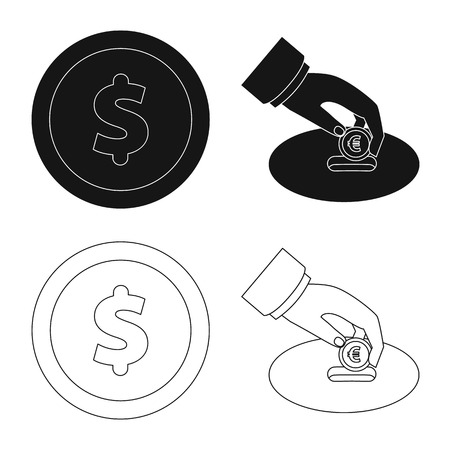 Isolated object of bank and money logo. Set of bank and bill stock symbol for web. Illustration