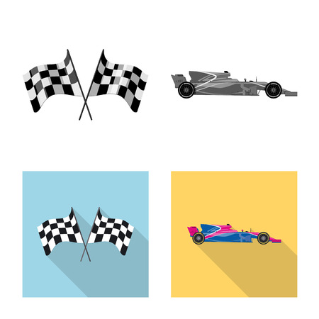 Isolated object of car and rally logo. Collection of car and race stock vector illustration.