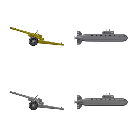 Vector design of weapon and gun sign. Set of weapon and army vector icon for stock. Stock Vector - 109941751