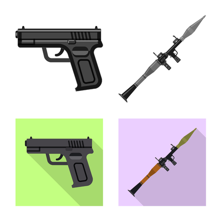 Vector design of weapon and gun symbol. Collection of weapon and army vector icon for stock.