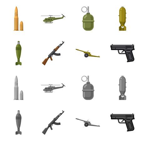 Vektordesign des Waffen- und Waffenlogos. Sammlung von Waffen- und Armeevorratvektorillustration.