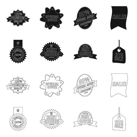 Vector design of emblem and badge sign. Set of emblem and sticker stock symbol for web. Ilustrace