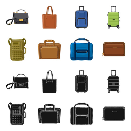 Vector design of suitcase and baggage icon. Collection of suitcase and journey stock symbol for web.