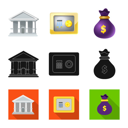 Vector illustration of bank and money logo. Set of bank and bill vector icon for stock. Illustration