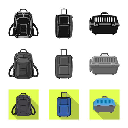 Disegno vettoriale del simbolo della valigia e del bagaglio. Raccolta di valigia e viaggio stock illustrazione vettoriale. Vettoriali