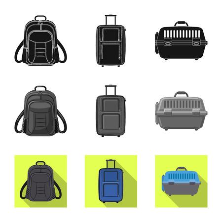 Disegno vettoriale del simbolo della valigia e del bagaglio. Raccolta di valigia e viaggio stock illustrazione vettoriale.