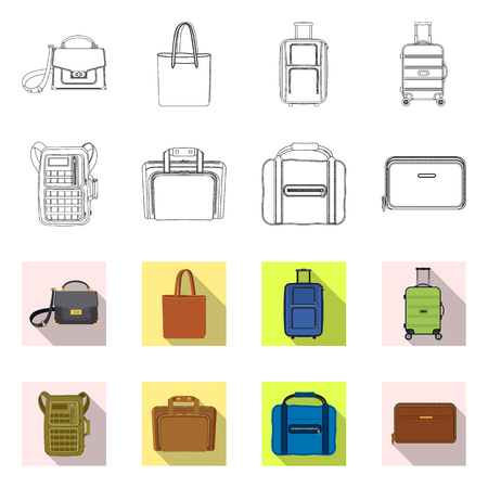 Vector illustration of suitcase and baggage sign. Set of suitcase and journey stock symbol for web. Vettoriali