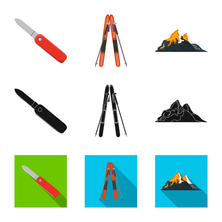 Isolated object of mountaineering and peak symbol. Collection of mountaineering and camp stock vector illustration.